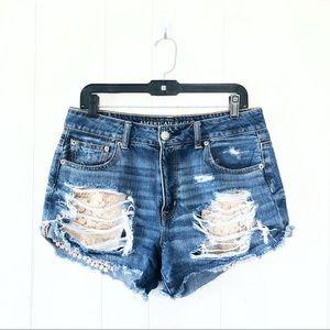 American Eagle Hi-Rise Festival Distressed Shorts